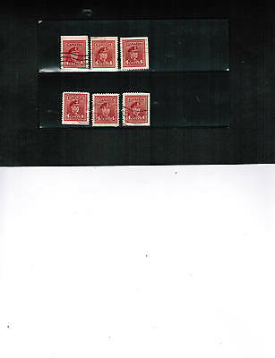 CANADA 1943 King George VI 6 stamps RE-CONSTITUTE BOOKLET PANE** cat #254a BK 01