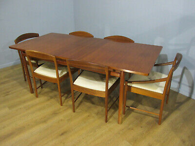 Very Rare Mid Century 60'S Danish Style Teak Dining Table & 6 Chairs By Mcintosh