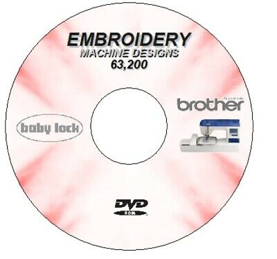 63,200 + 2.9 Gb Embroidery Designs Brother Janome Babylock Singer Bernina Cd Dvd