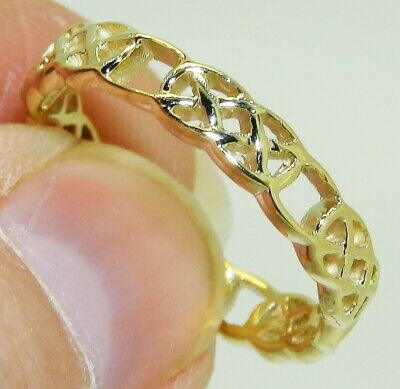 9CT YELLOW GOLD CELTIC KNOT 4mm WEDDING BAND THUMB RING 9 CARAT SIZE R