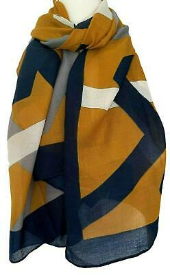 7305c2e7c9213 Mustard Yellow Scarf Navy Blue Grey Abstract Stripes Striped Wrap Ladies  Shawl