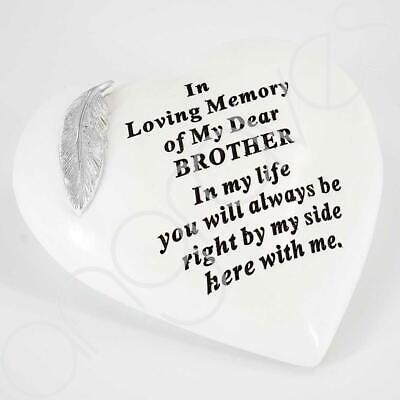 Special Brother Graveside Memorial Feather Heart Grave Plaque Ornament Decoratio