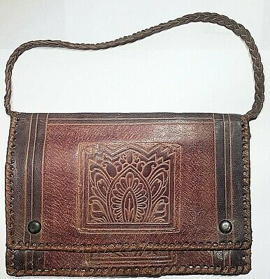 Vintage Old Leather Stamped Purse Clutch Wallet Butterfly Flower Sun Dyed -Strap