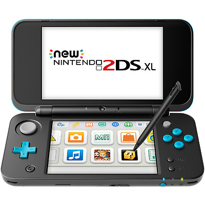 New Nintendo 2DS XL (Black + Turquoise) with its original stylus pen