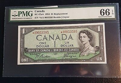 Canada BRITISH FRENCH GUNC TOP Coyne PMG 66 37aA $1 Star Replacement ✱A/A 1954