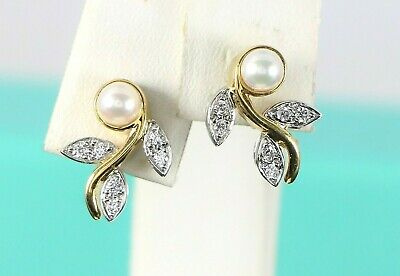 2d04bc910 Classic Tiffany Co Garland 18K Yellow Gold Platinum Pearl Diamond Leaf  Earrings