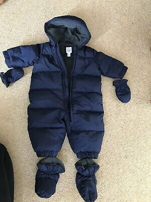 122543ae3 BABY GAP TEDDY Bear Blue Pramsuit Snow Coat 6-12m All-in-one Body ...