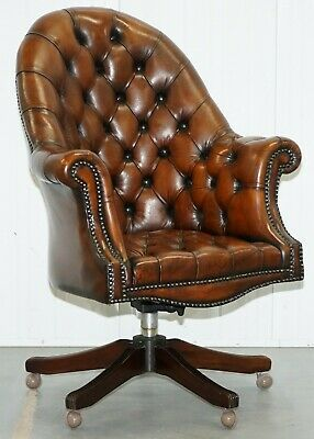 Restored 1930's Chesterfield Barrel Back Brown Leather Directors Captains Chair