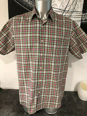 Short Sleeves Shirt Plaid Check Green/Pink Lacoste Size 43 XL like New