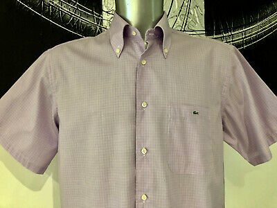 Pretty short Sleeve Shirt Pink Check Lacoste Size 44 XL like New