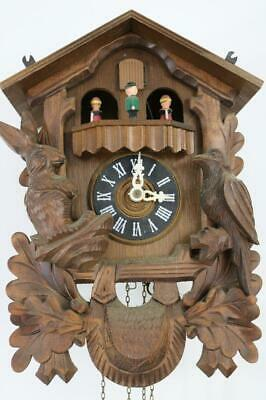 MUSICAL CUCKOO CLOCK with DANCING FIGURES AUTOMATA needs attention SILENT LEVER