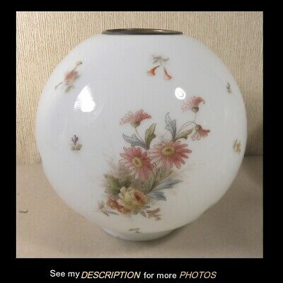 Antique Kerosene GWTW Lamp Ball Shade Floral and Butterfly Decoration 8in Dia