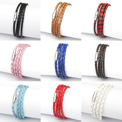 Braided Wrap Cuff Women Unisex Wristband Men Handmade Bracelet Leather Fashion