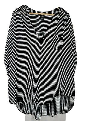 Torrid Black & White Stripes Tab Sleeve Sheer Blouse Women's Size 3 or 3X