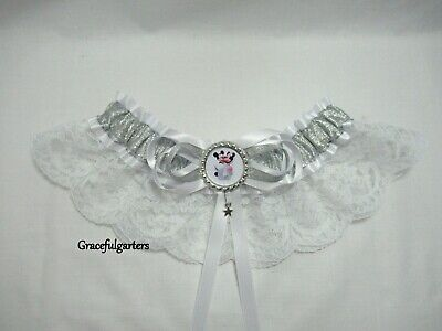 Small Disney themed minnie & Mickey mouse lace bridal wedding garter
