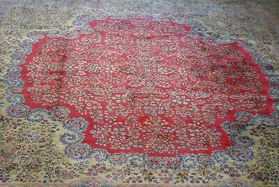 "Authentic Antique Kirman 1920 Hand-Knotted Wool Large Oriental Rug 13'6"" x 15'"