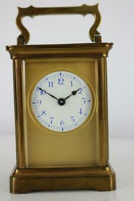 ANTIQUE FRENCH CARRIAGE CLOCK by ALBERT VILLON gilt masked dial WORKING BUT OIL