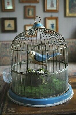 Vintage Antique Bird Cage w/ Wood Carved Bird Early Blue Paint Great Decor