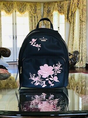 8d71a6ae906e9 NWT Kate Spade Dawn Place Embroidered Small Noria Backpack Purse Floral  Black
