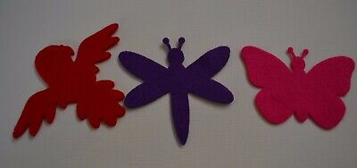 3 BUTTERFLY BIRD DRAGONFLY  FELT LARGE Shapes Scrapbooking Embellishment