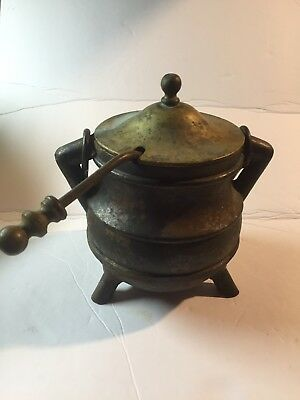 Antique Cast Iron & Brass Fire Starter Oil Pot Kettle With Wand For Fireplace