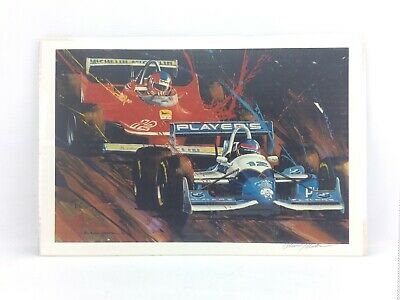 Charles Maher Original Art Print Gilles and Jacques Villeneuve Ferrari F1 Indy