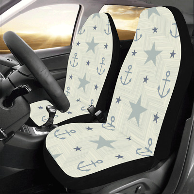 Front Car Seat Covers Anchors Stars Protector Cushion Universal Fit Most Cars