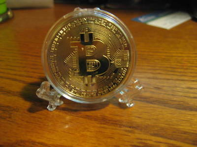 Bitcoin Gold Plated Coins In Acrylic Case