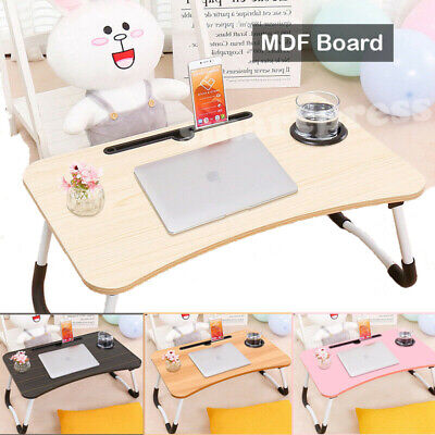 Portable Multi Function Laptop Stand Bed Desk Foldable Lap Wooden Table Tray