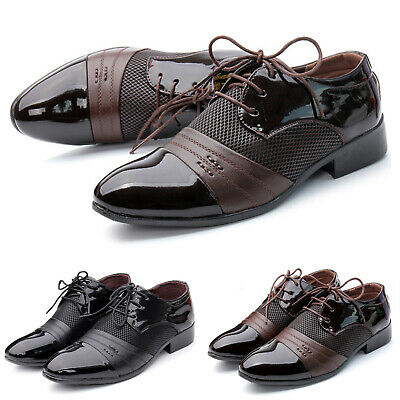Men's Lace Up Classic Oxfords Leather Shoes Low Wedge Business Casual Shoes