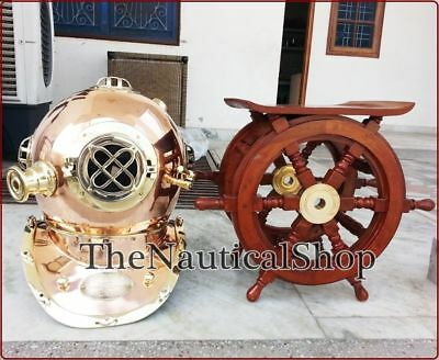 New Nautical Brass Divers Navy Diving Helmet Copper With Ship Wheel Table Decor