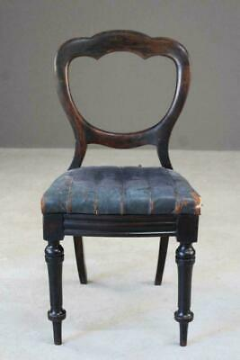 Single Antique Victorian Balloon Leather Seat Back Dining Chair