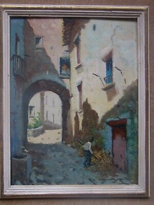Old Impressionist oil painting Signed by Spanish artist Ramon Cruz.