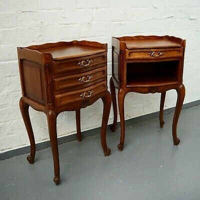 Pair of His Hers French Bedside Tables Antique Louis style Oak