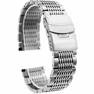 Silver Black Premium Stainless Steel Watch Band Mesh Strap for Men Women, Double