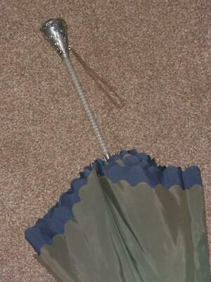 Vintage Navy/Green Double Canopy Umbrella - Blue Detail Handle