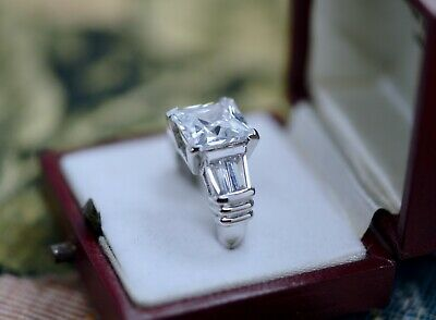 Art Deco Vintage Jewellery Ring White Sapphires Antique Jewelry Size J1/2 or 5