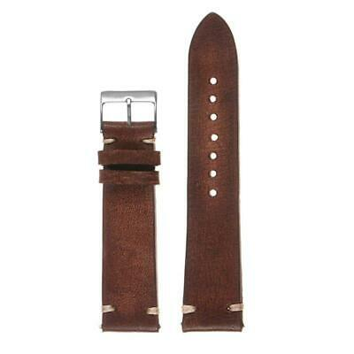 StrapsCo Hand-Stitched Vintage Washed Leather Watch Band - Quick Release Strap -