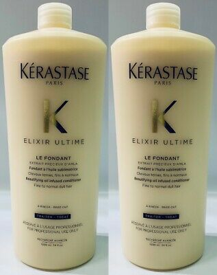 2 X NEW Le Fondant Elixir Ultime 1000ML Kerastase + Free Pump