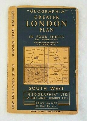 Geographia Greater London Plan Map - South West Sheet - Vintage London Map 1950s