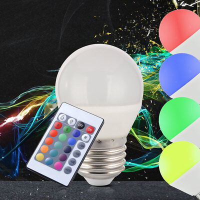5W LED Bombilla Lámpara E27 RGB Cambia de Color Regulador Mando a Distancia Luz