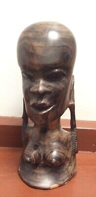 """Vintage Unique Hand Carved Wood African Woman Tribal Art Carving-Ht. 8""""(20cms)"""