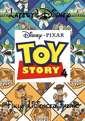EXCLUSIVE Official Disney Toy Story 4 Fabric choice of 4 latest fabricsfree P/&P