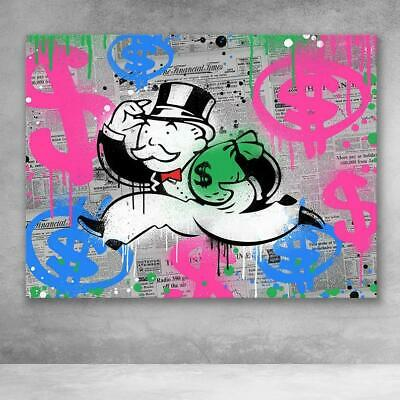 "Alec Monopoly Graffiti Handcraft Oil Painting on Canvas,""Money Bags"" 24×32"""