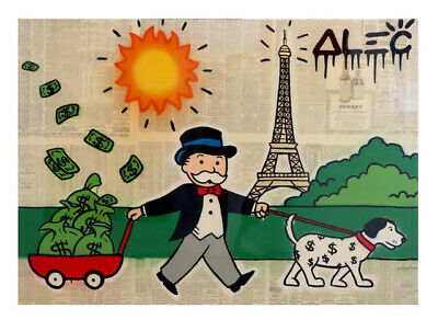 "Alec Monopoly Graffiti Handcraft Oil Painting on Canvas,""Eiffel Tower"" 24×32"""