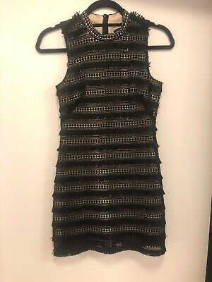 f2c6b0e3 J.CREW FRINGY LACE SHEATH DRESS, BLACK, Size 00P for WORK COCKTAIL PARTY