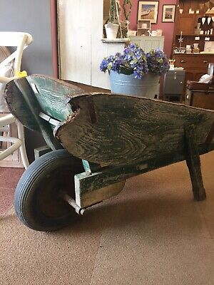 Antique Wooden Garden Wheelbarrow- Planter, Prop,