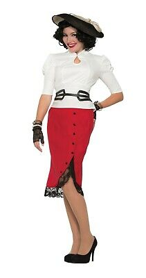 Ladies Fancy Dress 1940s Red Pencil Skirt Knee Length Vintage Outfit (X76681)