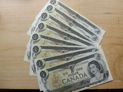 Bank Of Canada 8X1973 $1.00 Notes Consecutive Serial Numbers