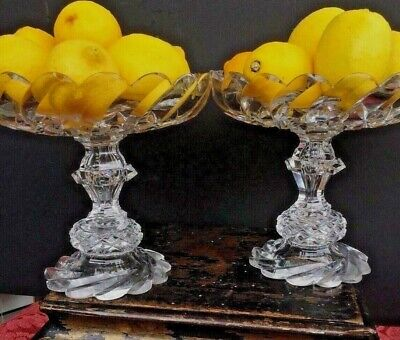 Pair Of Antique Anglo Irish Cut Glass Crystal Compotes Cake Stands Bowls